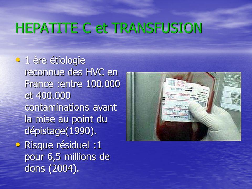 HEPATITE C et TRANSFUSION 1 ère étiologie reconnue des HVC en France :entre 100.000 et 400.000 contaminations avant la mise au point du dépistage(1990
