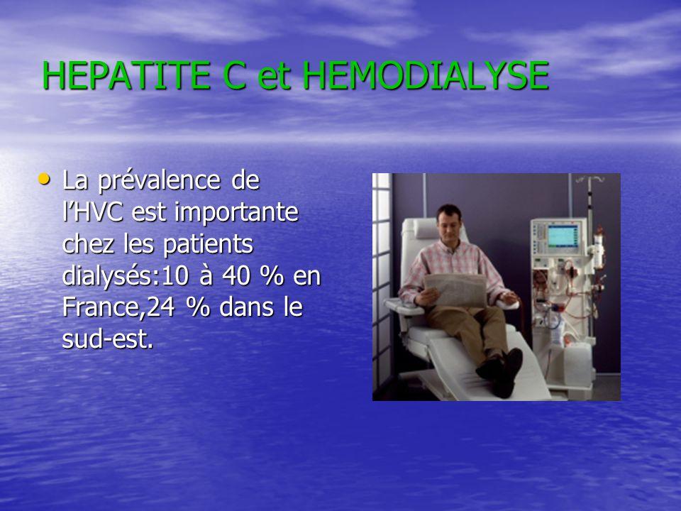 HEPATITE C et HEMODIALYSE La prévalence de lHVC est importante chez les patients dialysés:10 à 40 % en France,24 % dans le sud-est. La prévalence de l