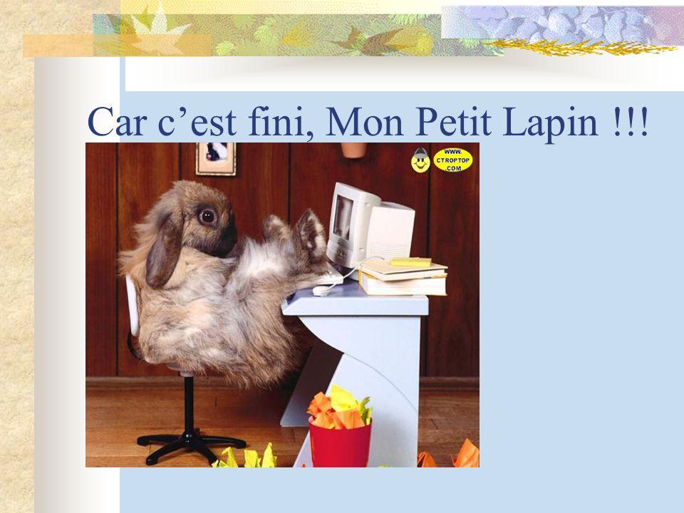 Car cest fini, Mon Petit Lapin !!!