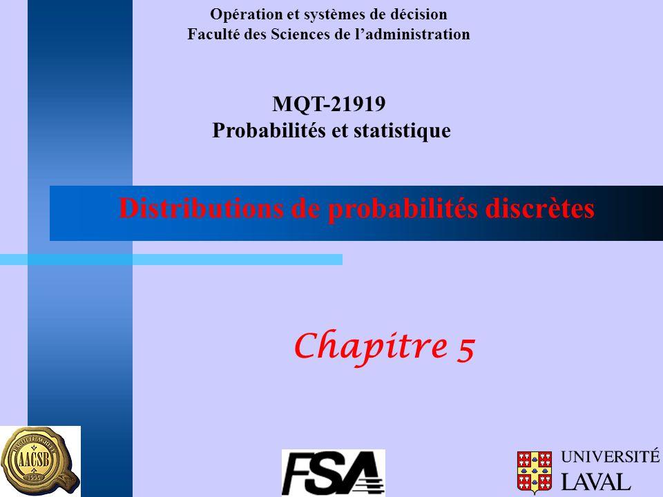 Distributions de probabilités discrètes Opération et systèmes de décision Faculté des Sciences de ladministration MQT-21919 Probabilités et statistiqu