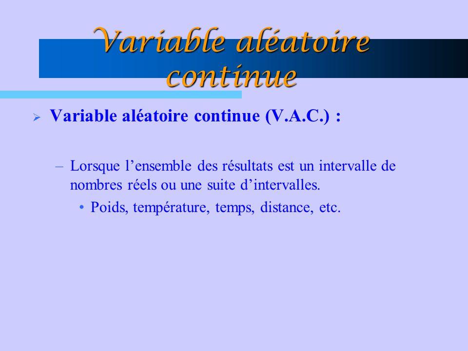 Variable aléatoire continue Variable aléatoire continue (V.A.C.) : –Lorsque lensemble des résultats est un intervalle de nombres réels ou une suite di