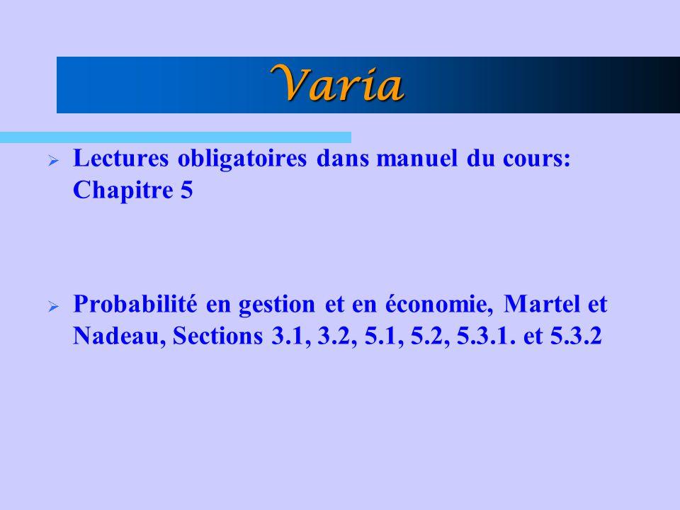 Varia Lectures obligatoires dans manuel du cours: Chapitre 5 Probabilité en gestion et en économie, Martel et Nadeau, Sections 3.1, 3.2, 5.1, 5.2, 5.3