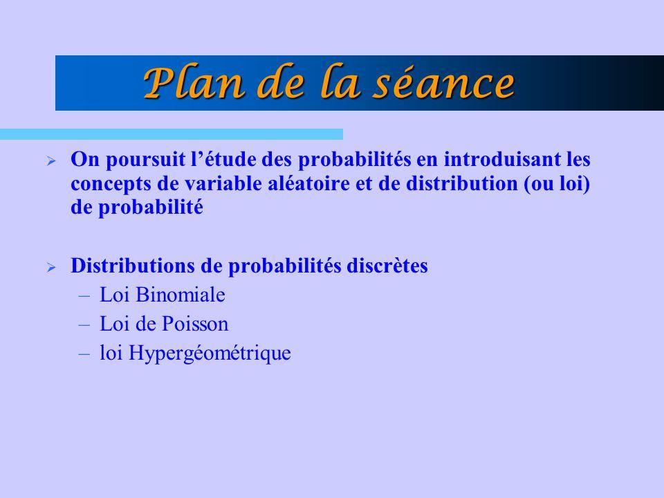 Plan de la séance On poursuit létude des probabilités en introduisant les concepts de variable aléatoire et de distribution (ou loi) de probabilité Di