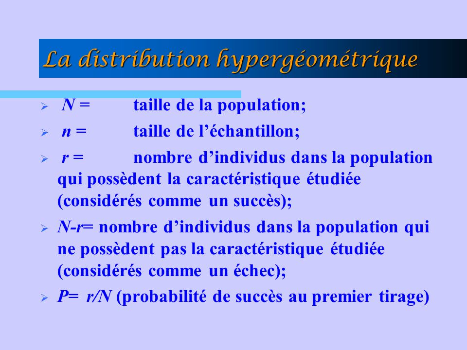 La distribution hypergéométrique N =taille de la population; n =taille de léchantillon; r = nombre dindividus dans la population qui possèdent la cara