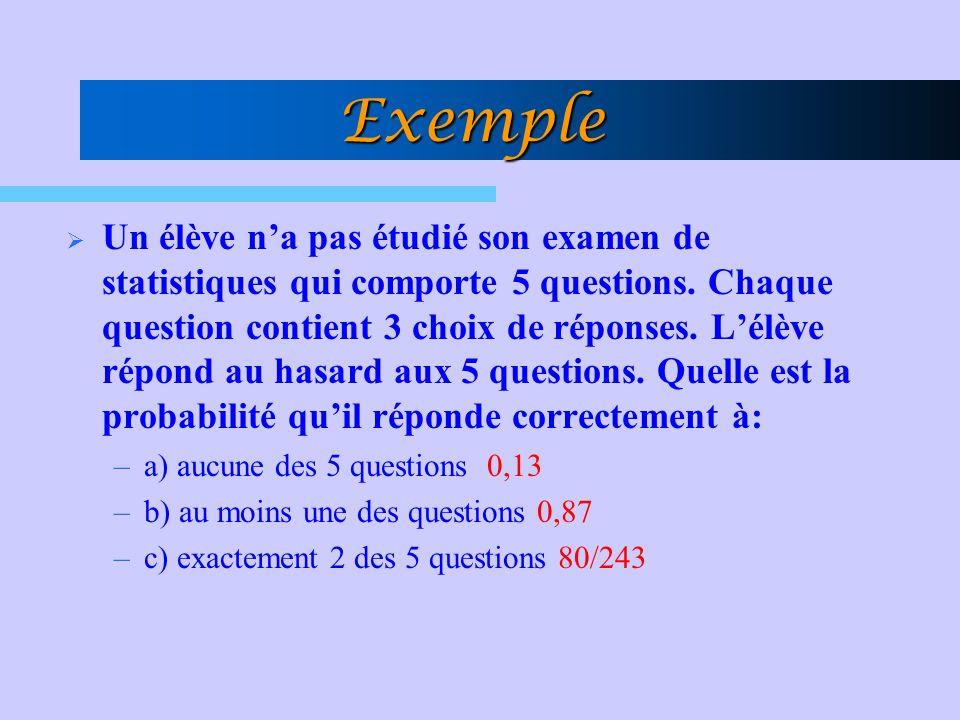 Exemple Un élève na pas étudié son examen de statistiques qui comporte 5 questions. Chaque question contient 3 choix de réponses. Lélève répond au has
