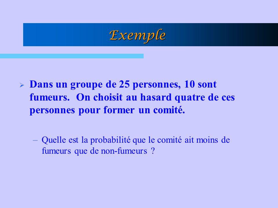 Exemple Dans un groupe de 25 personnes, 10 sont fumeurs. On choisit au hasard quatre de ces personnes pour former un comité. –Quelle est la probabilit