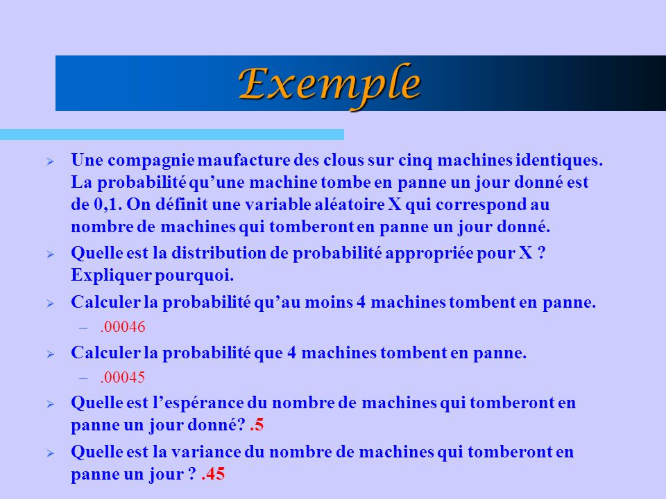 Exemple Une compagnie maufacture des clous sur cinq machines identiques. La probabilité quune machine tombe en panne un jour donné est de 0,1. On défi