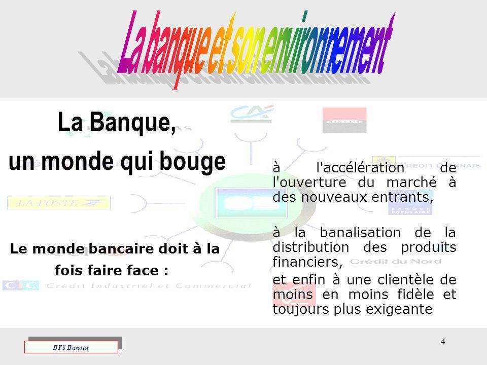 4 La Banque, un monde qui bouge Le monde bancaire doit à la fois faire face : à l'accélération de l'ouverture du marché à des nouveaux entrants, à la