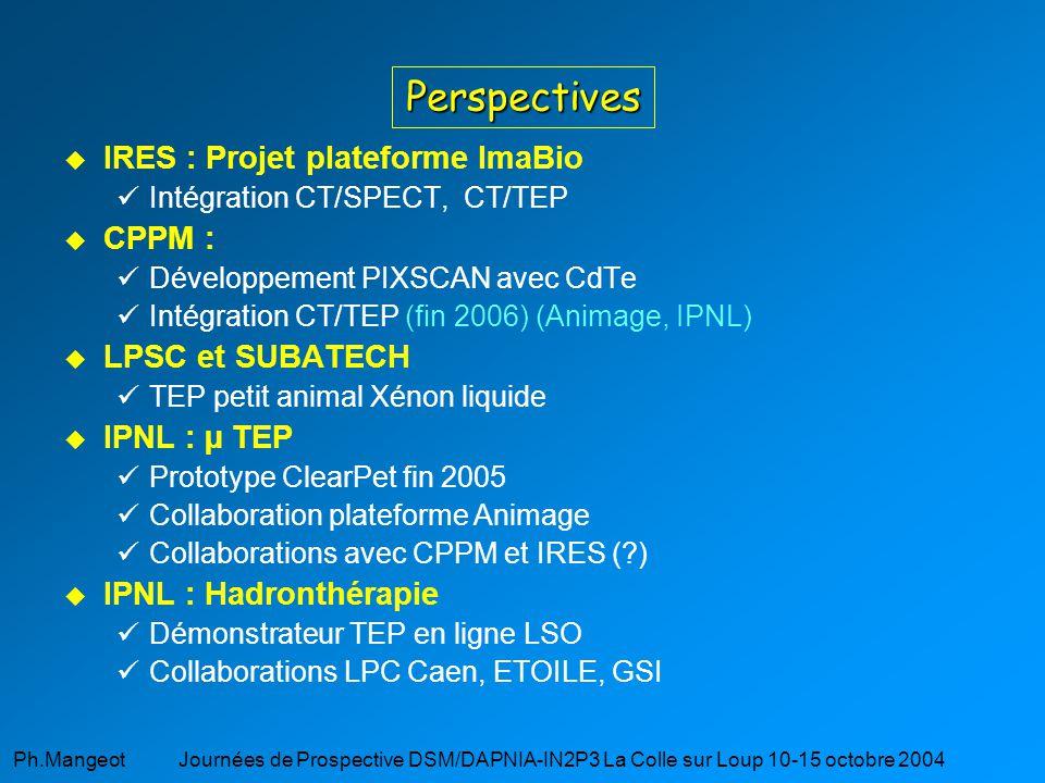 Ph.Mangeot Journées de Prospective DSM/DAPNIA-IN2P3 La Colle sur Loup 10-15 octobre 2004 Perspectives IRES : Projet plateforme ImaBio üIntégration CT/SPECT, CT/TEP CPPM : üDéveloppement PIXSCAN avec CdTe üIntégration CT/TEP (fin 2006) (Animage, IPNL) LPSC et SUBATECH üTEP petit animal Xénon liquide IPNL : µ TEP üPrototype ClearPet fin 2005 üCollaboration plateforme Animage üCollaborations avec CPPM et IRES (?) IPNL : Hadronthérapie üDémonstrateur TEP en ligne LSO üCollaborations LPC Caen, ETOILE, GSI