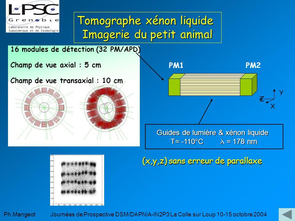Ph.Mangeot Journées de Prospective DSM/DAPNIA-IN2P3 La Colle sur Loup 10-15 octobre 2004 Guides de lumière & xénon liquide T= -110°C = 178 nm Z X Y Tomographe xénon liquide Imagerie du petit animal 16 modules de détection (32 PM/APD) Champ de vue axial : 5 cm Champ de vue transaxial : 10 cm PM2PM1 (x,y,z) sans erreur de parallaxe (x,y,z) sans erreur de parallaxe