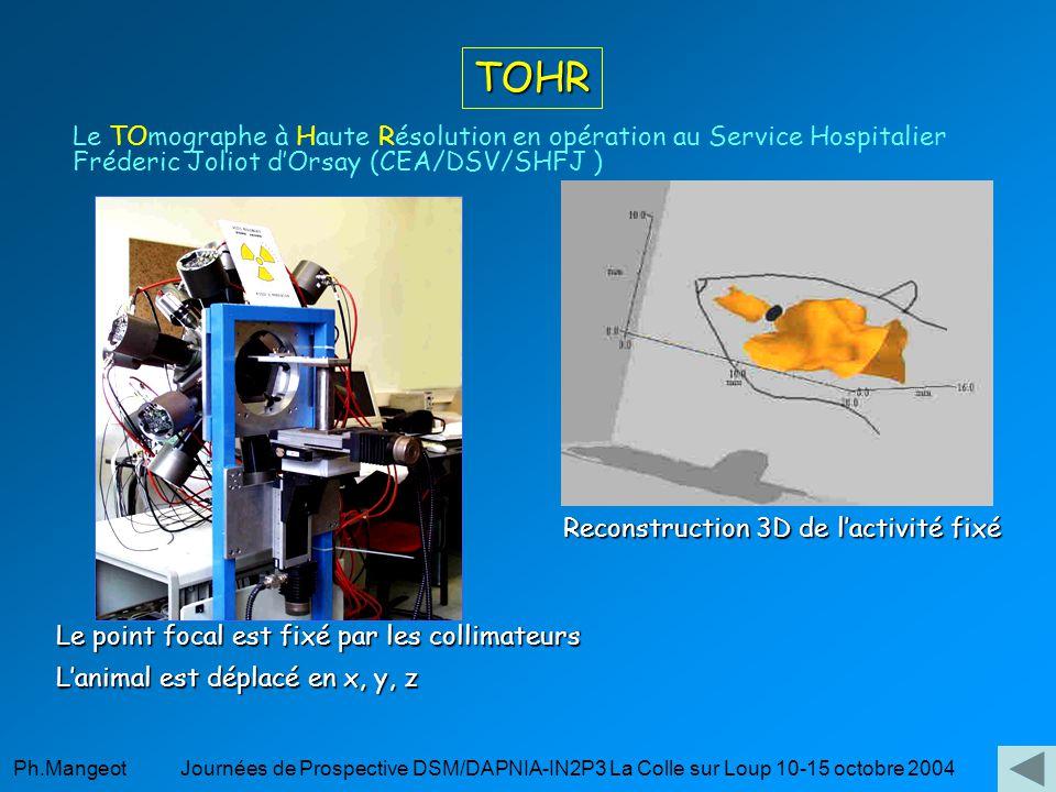 Ph.Mangeot Journées de Prospective DSM/DAPNIA-IN2P3 La Colle sur Loup 10-15 octobre 2004 TOHR Le TOmographe à Haute Résolution en opération au Service Hospitalier Fréderic Joliot dOrsay (CEA/DSV/SHFJ ) Le point focal est fixé par les collimateurs Lanimal est déplacé en x, y, z Reconstruction 3D de lactivité fixé