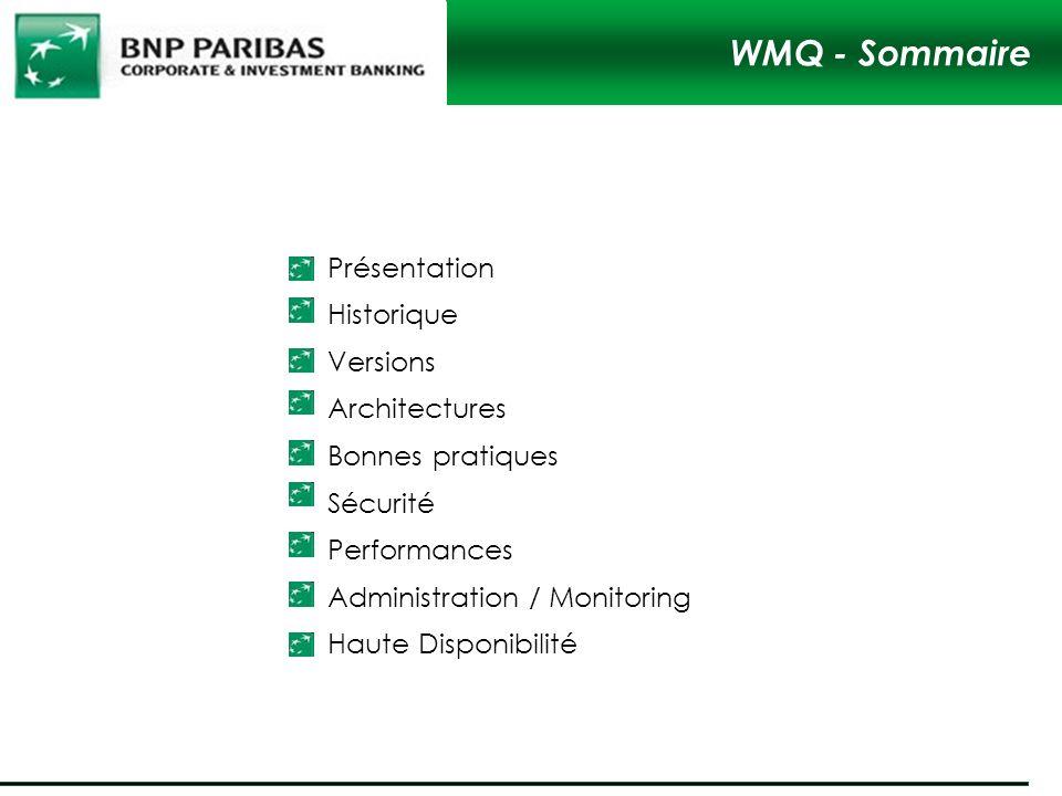 Présentation Historique Versions Architectures Bonnes pratiques Sécurité Performances Administration / Monitoring Haute Disponibilité WMQ - Sommaire