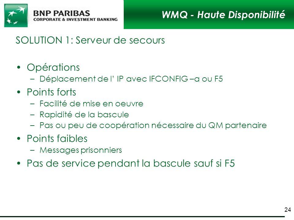 WMQ - Haute Disponibilité SOLUTION 1: Serveur de secours Opérations –Déplacement de l IP avec IFCONFIG –a ou F5 Points forts –Facilité de mise en oeuv