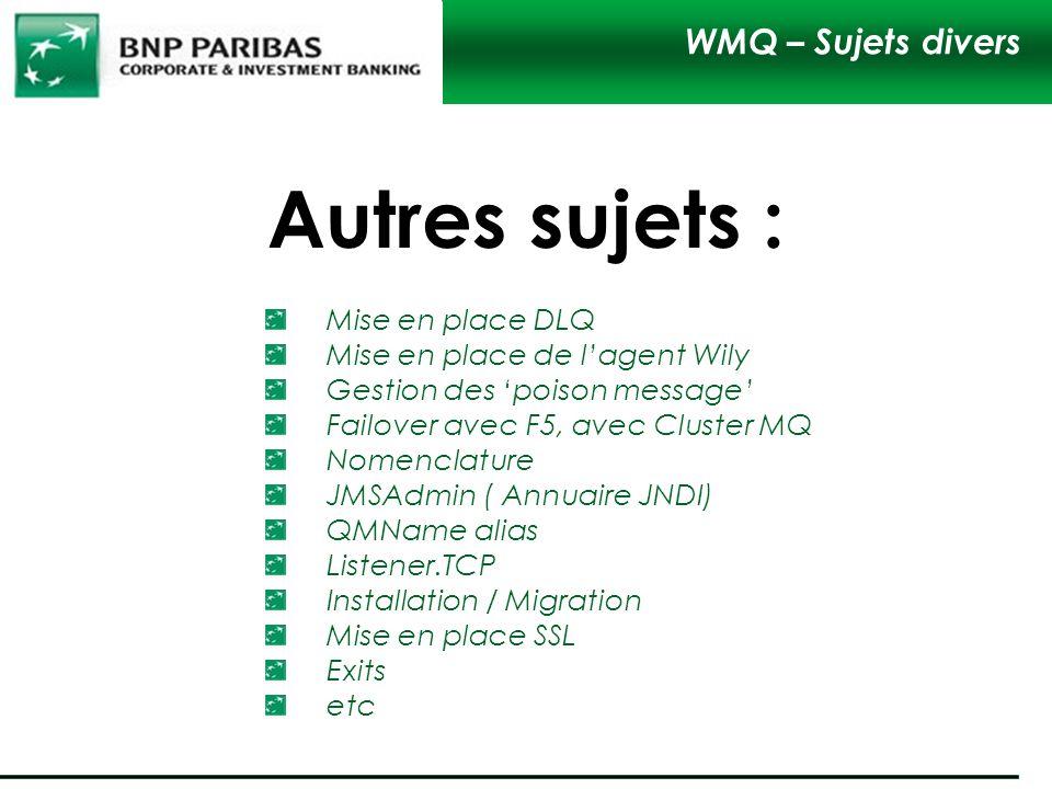 Autres sujets : WMQ – Sujets divers Mise en place DLQ Mise en place de lagent Wily Gestion des poison message Failover avec F5, avec Cluster MQ Nomenc