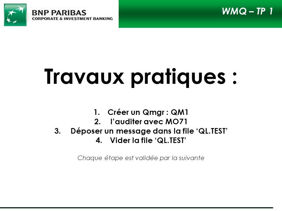 Travaux pratiques : 1.Créer un Qmgr : QM1 2. lauditer avec MO71 3. Déposer un message dans la file QL.TEST 4.Vider la file QL.TEST Chaque étape est va