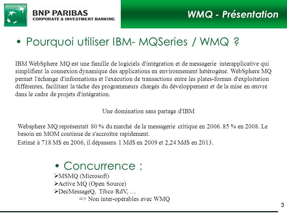 WMQ - Présentation Pourquoi utiliser IBM- MQSeries / WMQ ? IBM WebSphere MQ est une famille de logiciels d'intégration et de messagerie interapplicati