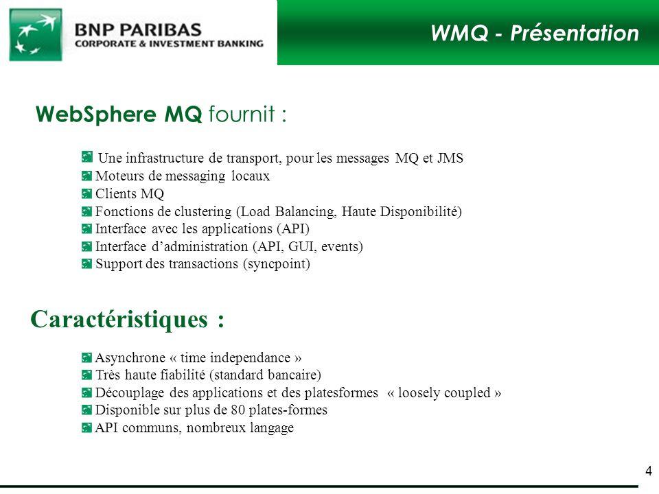 WMQ - Présentation WebSphere MQ fournit : Asynchrone « time independance » Très haute fiabilité (standard bancaire) Découplage des applications et des