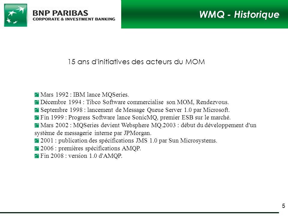 WMQ - Historique Mars 1992 : IBM lance MQSeries. Décembre 1994 : Tibco Software commercialise son MOM, Rendezvous. Septembre 1998 : lancement de Messa