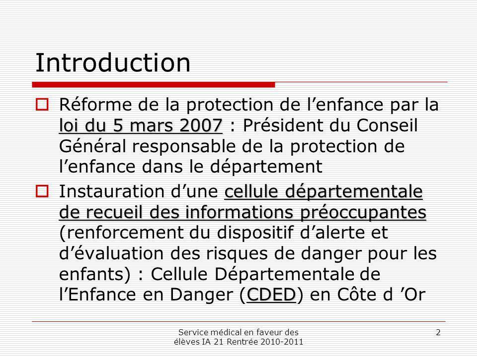 Service médical en faveur des élèves IA 21 Rentrée 2010-2011 2 Introduction loi du 5 mars 2007 Réforme de la protection de lenfance par la loi du 5 ma
