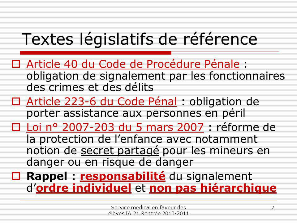 Service médical en faveur des élèves IA 21 Rentrée 2010-2011 7 Textes législatifs de référence Article 40 du Code de Procédure Pénale : obligation de