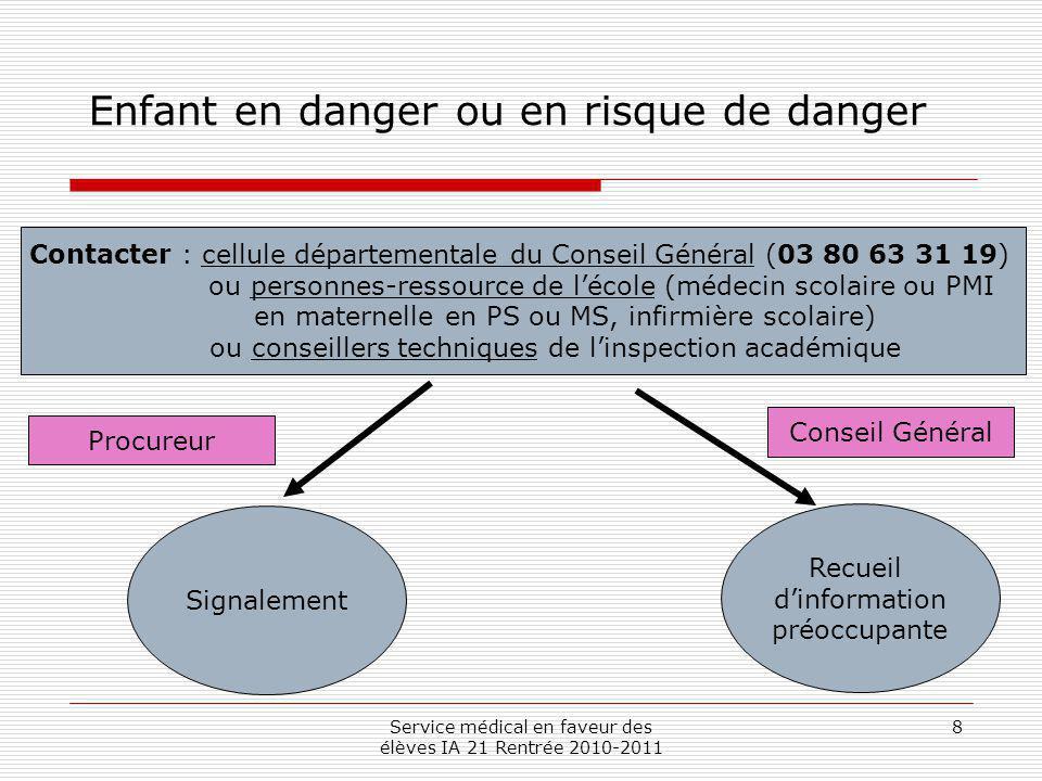 Service médical en faveur des élèves IA 21 Rentrée 2010-2011 8 Enfant en danger ou en risque de danger Contacter : cellule départementale du Conseil G