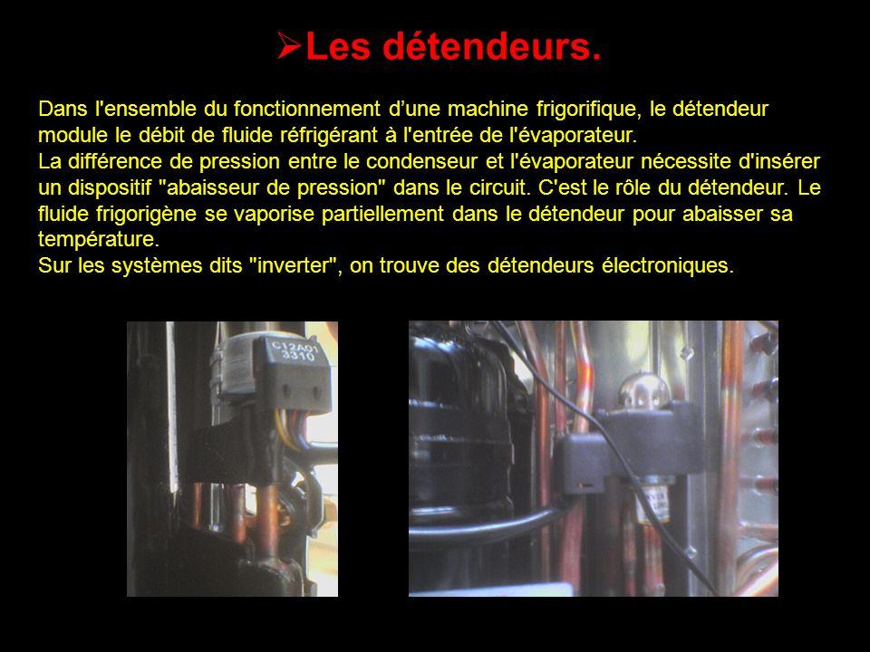 Les détendeurs. Dans l'ensemble du fonctionnement dune machine frigorifique, le détendeur module le débit de fluide réfrigérant à l'entrée de l'évapor