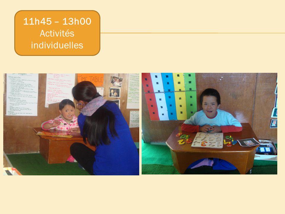 11h45 – 13h00 Activités individuelles