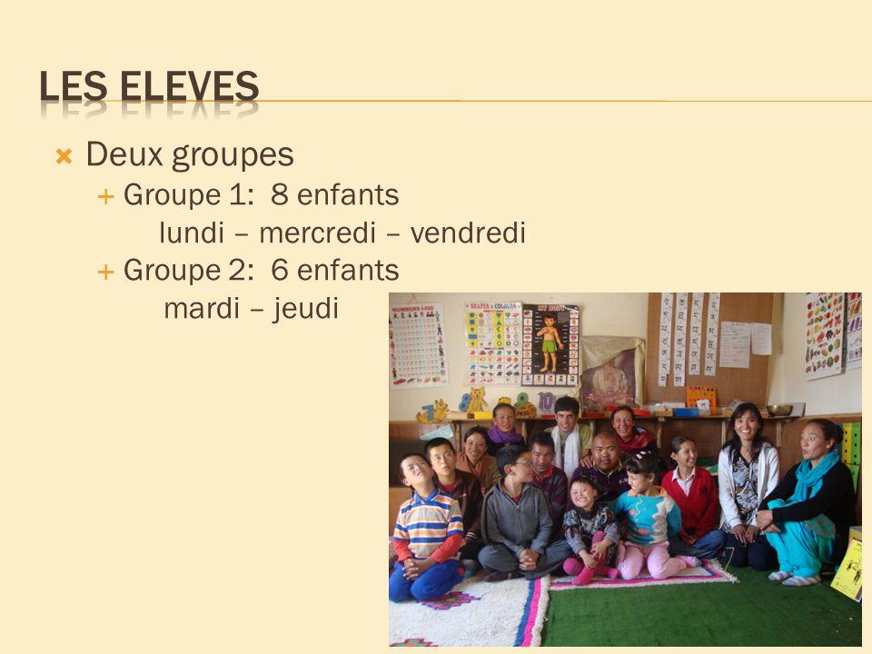 Deux groupes Groupe 1: 8 enfants lundi – mercredi – vendredi Groupe 2: 6 enfants mardi – jeudi