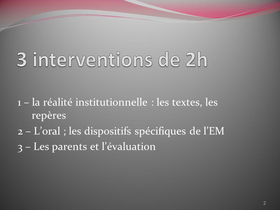 1 – la réalité institutionnelle : les textes, les repères 2 – Loral ; les dispositifs spécifiques de lEM 3 – Les parents et lévaluation 2