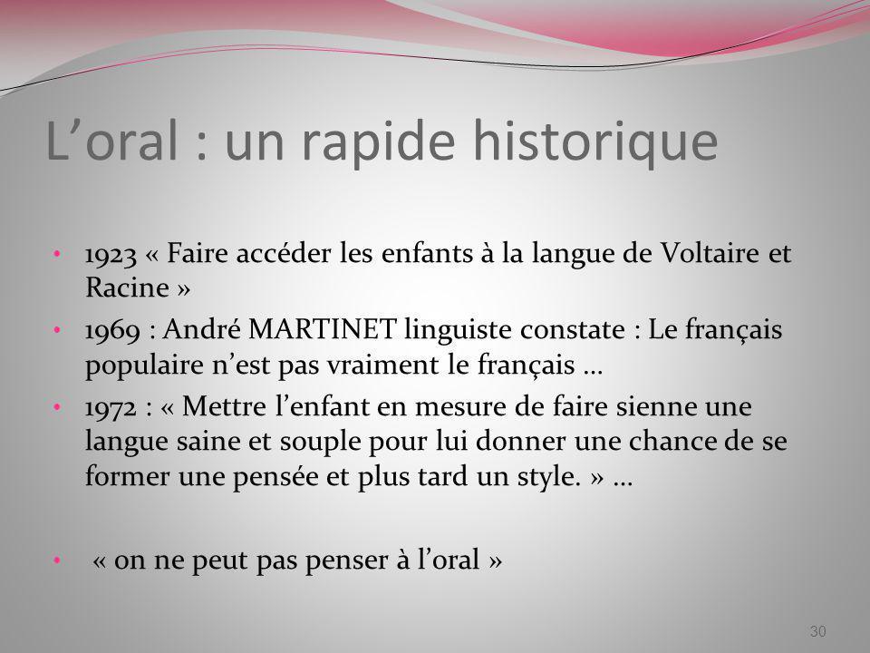 Loral : un rapide historique 1923 « Faire accéder les enfants à la langue de Voltaire et Racine » 1969 : André MARTINET linguiste constate : Le frança