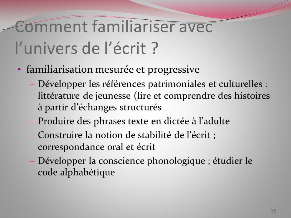 Comment familiariser avec lunivers de lécrit ? familiarisation mesurée et progressive – Développer les références patrimoniales et culturelles : litté