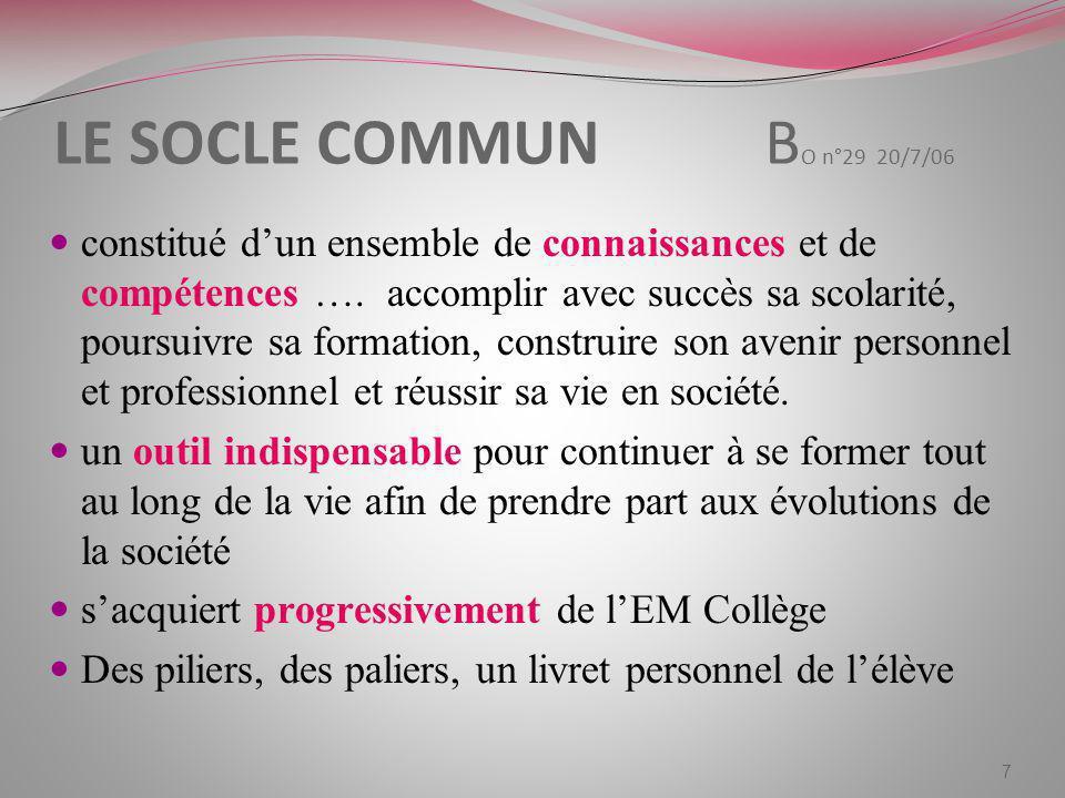 LE SOCLE COMMUN B O n°29 20/7/06 constitué dun ensemble de connaissances et de compétences …. accomplir avec succès sa scolarité, poursuivre sa format