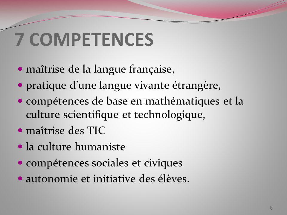 7 COMPETENCES maîtrise de la langue française, pratique dune langue vivante étrangère, compétences de base en mathématiques et la culture scientifique