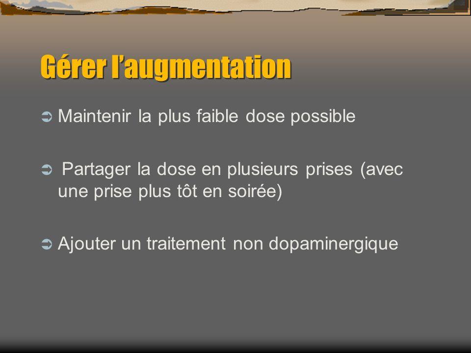 Gérer laugmentation Maintenir la plus faible dose possible Partager la dose en plusieurs prises (avec une prise plus tôt en soirée) Ajouter un traitement non dopaminergique