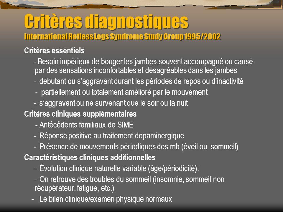 Critères diagnostiques International Retless Legs Syndrome Study Group 1995/2002 Critères essentiels - Besoin impérieux de bouger les jambes,souvent accompagné ou causé par des sensations inconfortables et désagréables dans les jambes - débutant ou saggravant durant les périodes de repos ou dinactivité - partiellement ou totalement amélioré par le mouvement - saggravant ou ne survenant que le soir ou la nuit Critères cliniques supplémentaires - Antécédents familiaux de SIME - Réponse positive au traitement dopaminergique - Présence de mouvements périodiques des mb (éveil ou sommeil) Caractéristiques cliniques additionnelles - Évolution clinique naturelle variable (âge/périodicité): - On retrouve des troubles du sommeil (insomnie, sommeil non récupérateur, fatigue, etc.) - Le bilan clinique/examen physique normaux
