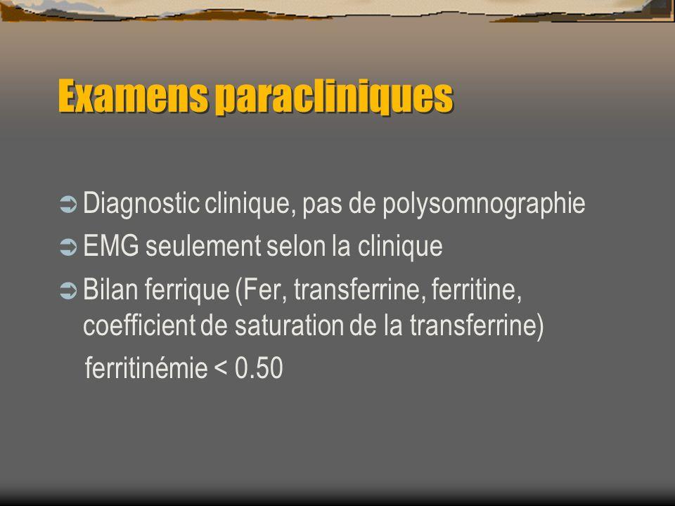 Examens paracliniques Diagnostic clinique, pas de polysomnographie EMG seulement selon la clinique Bilan ferrique (Fer, transferrine, ferritine, coefficient de saturation de la transferrine) ferritinémie < 0.50