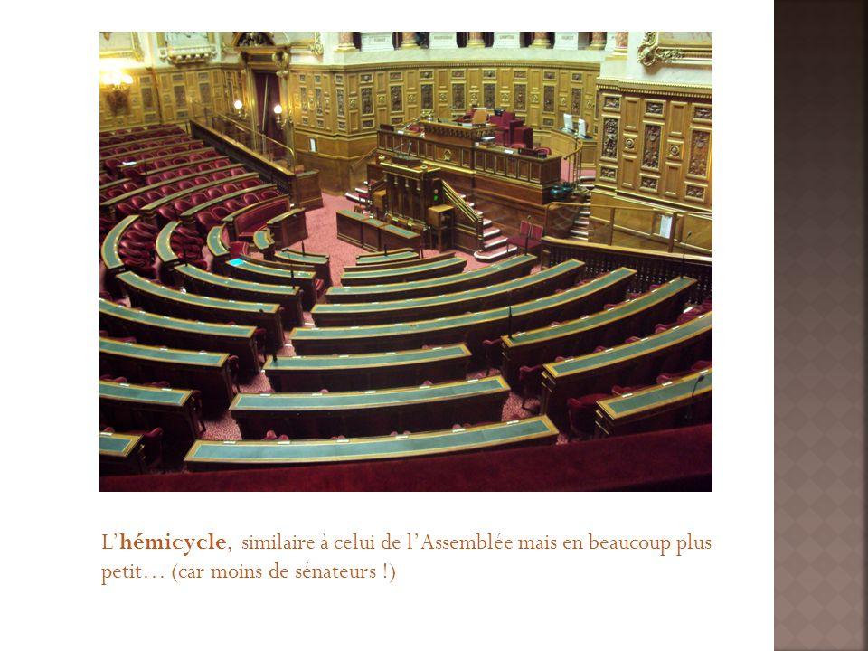 Lhémicycle, similaire à celui de lAssemblée mais en beaucoup plus petit… (car moins de sénateurs !)