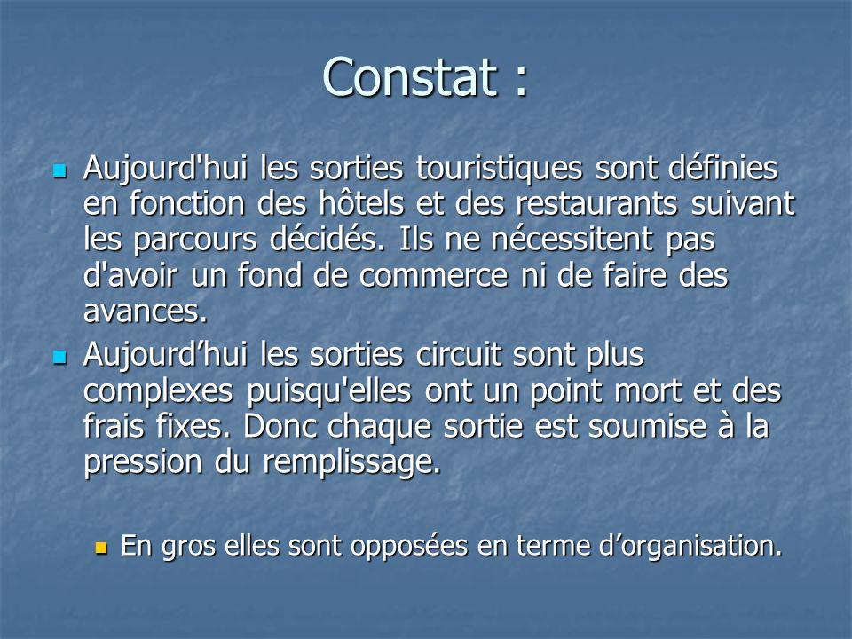 Constat : Aujourd hui les sorties touristiques sont définies en fonction des hôtels et des restaurants suivant les parcours décidés.