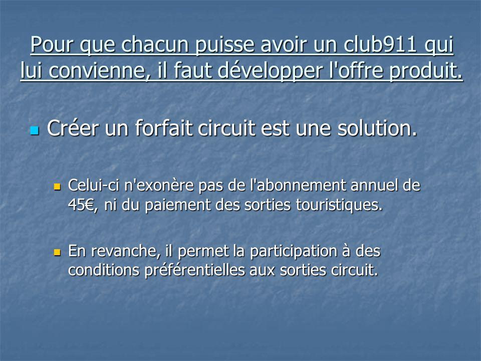 Pour que chacun puisse avoir un club911 qui lui convienne, il faut développer l offre produit.