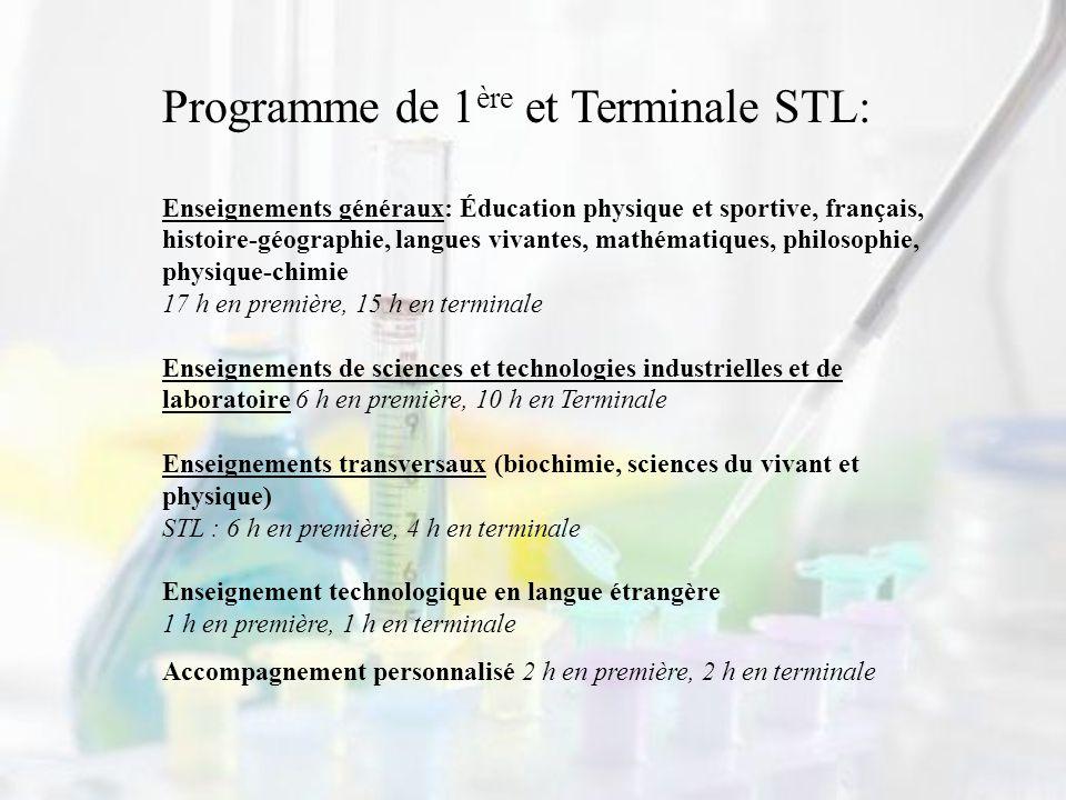 Programme de 1 ère et Terminale STL: Enseignements généraux: Éducation physique et sportive, français, histoire-géographie, langues vivantes, mathémat