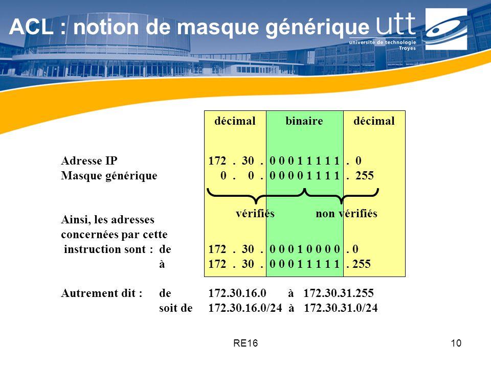 RE1610 ACL : notion de masque générique décimal Adresse IP172. 30. 0 0 0 1 1 1 1 1. 0 Masque générique 0. 0. 0 0 0 0 1 1 1 1. 255 Ainsi, les adresses