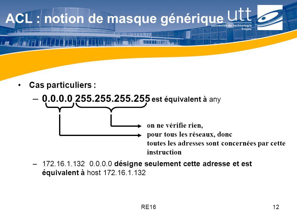 RE1612 ACL : notion de masque générique Cas particuliers : –0.0.0.0 255.255.255.255 est équivalent à any –172.16.1.132 0.0.0.0 désigne seulement cette