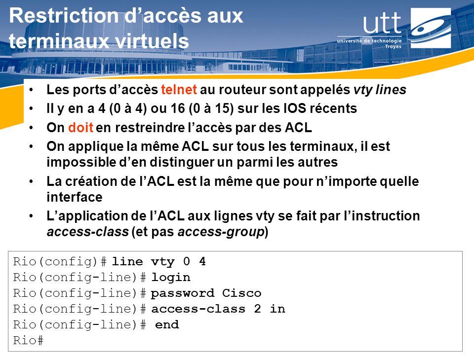 RE1624 Restriction daccès aux terminaux virtuels Les ports daccès telnet au routeur sont appelés vty lines Il y en a 4 (0 à 4) ou 16 (0 à 15) sur les