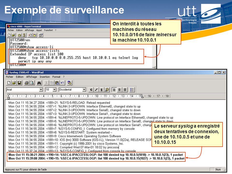 RE1626 Exemple de surveillance On interdit à toutes les machines du réseau 10.10.0.0/16 de faire telnet sur la machine 10.10.0.1 Le serveur syslog a e