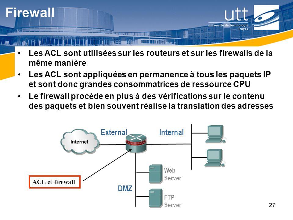 RE1627 Firewall Les ACL sont utilisées sur les routeurs et sur les firewalls de la même manière Les ACL sont appliquées en permanence à tous les paque