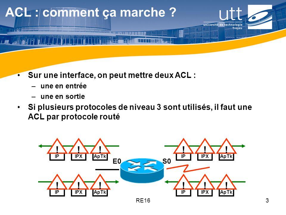 RE1624 Restriction daccès aux terminaux virtuels Les ports daccès telnet au routeur sont appelés vty lines Il y en a 4 (0 à 4) ou 16 (0 à 15) sur les IOS récents On doit en restreindre laccès par des ACL On applique la même ACL sur tous les terminaux, il est impossible den distinguer un parmi les autres La création de lACL est la même que pour nimporte quelle interface Lapplication de lACL aux lignes vty se fait par linstruction access-class (et pas access-group) Rio(config)# line vty 0 4 Rio(config-line)#login Rio(config-line)#password Cisco Rio(config-line)#access-class 2 in Rio(config-line)#end Rio#