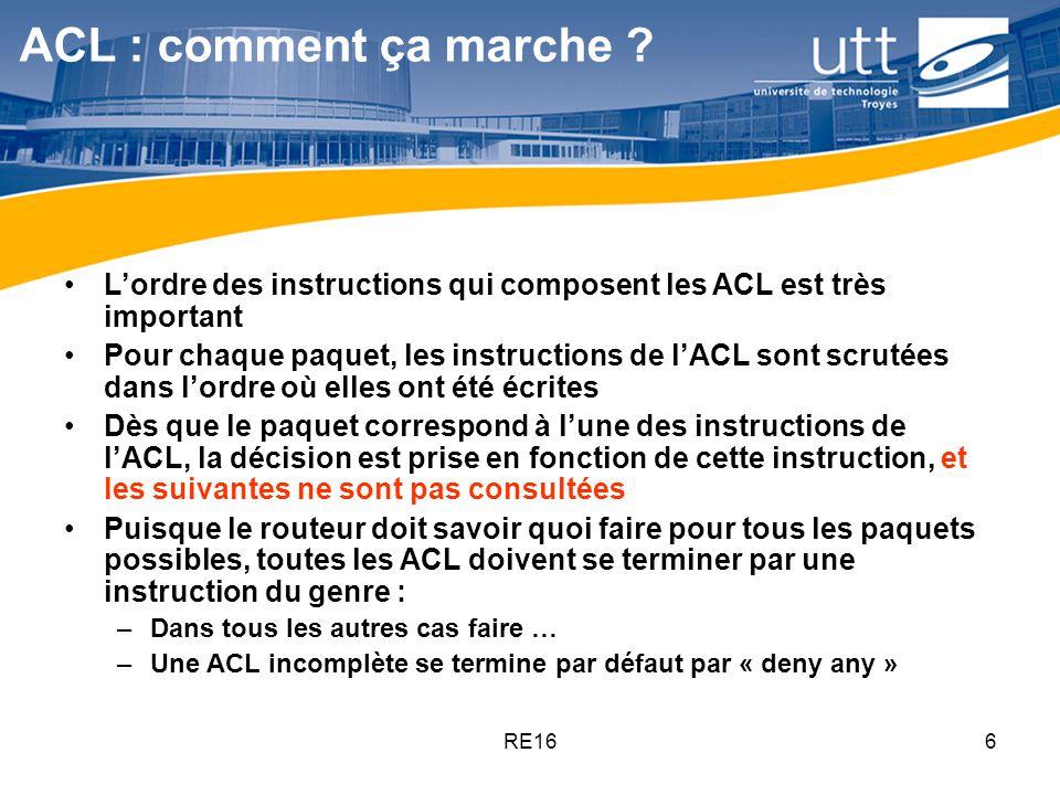 RE1617 Placement dune ACL standard les ACLs standard ne portent pas mention de la destination Il faut donc les placer le plus près possible de la destination Dans lexemple ci-dessous, que se passe-t-il pour tout le trafic IP si on place un deny 192.5.5.0 0.0.0.255 sur linterface E0 en entrée de Lab-A .