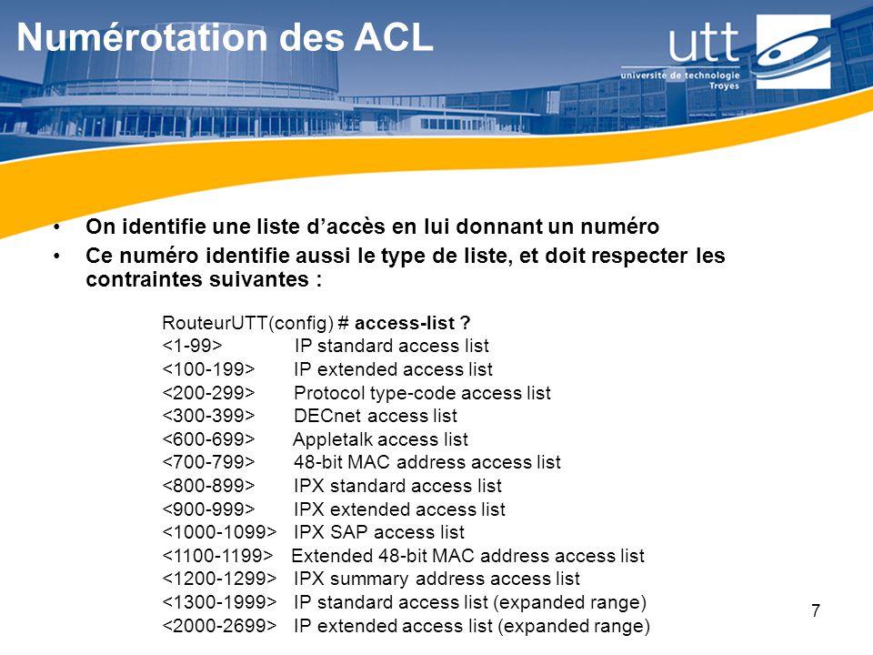 RE1618 ACL étendue access-list 101 permit ip host 10.0.0.1 any access-list 101 deny ip 10.0.0.0 0.0.0.255 any access-list 101 deny tcp host 172.16.6.1 192.168.1.0 0.0.0.255 eq 23 access-list 101 permit tcp 172.16.6.0 0.0.0.255 any eq telnet 1.autorise tout le trafic IP venant de lhôte 10.0.0.1, quelle que soit la destination 1.