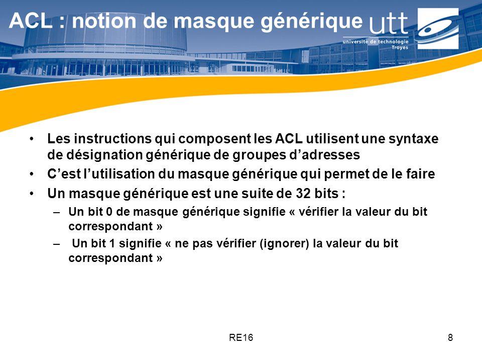 RE169 ACL : notion de masque générique Par exemple, si on veut refuser tous les paquets qui viennent des réseaux compris de 172.30.16.0/24 à 172.30.31.0/24, linstruction correspondante dans lACL contiendra, entre autres, les termes suivants : –172.30.31.0 0.0.15.255
