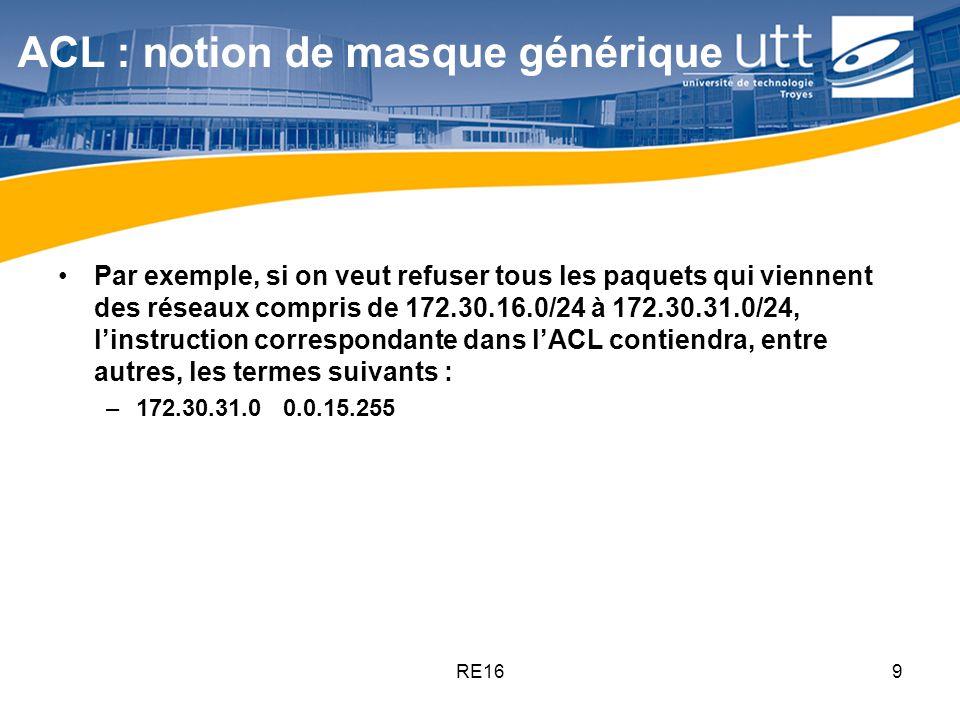RE169 ACL : notion de masque générique Par exemple, si on veut refuser tous les paquets qui viennent des réseaux compris de 172.30.16.0/24 à 172.30.31